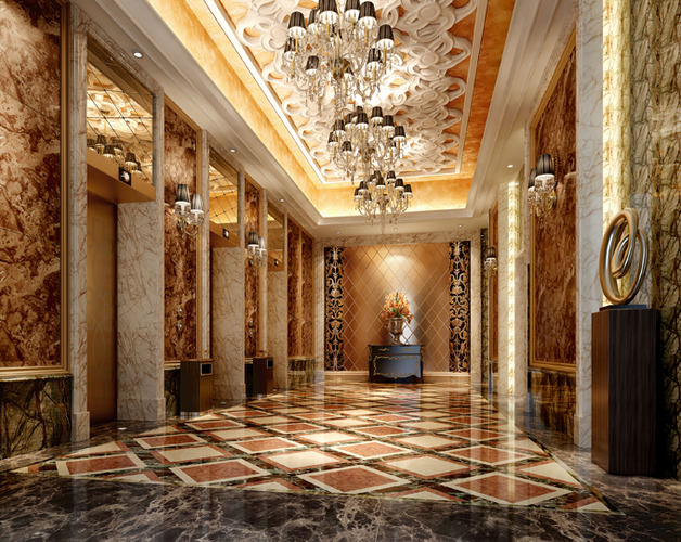 Luxury Hotel Lobby With Elevator 3d Model Cgtrader