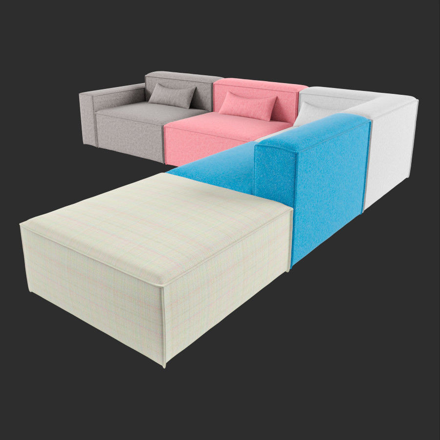 Mix Modular 5 Piece Sectional Sofa | 3D model