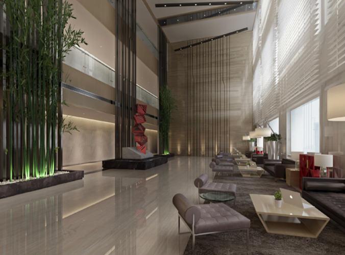 Modern Hotel Lobby 3d model modern hotel lobby interior | cgtrader