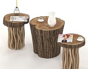 3D Coffee tables from stump and slab on wooden legs