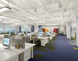 3d modern huge office with work places