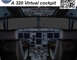 airbus a-320 virtual cockpit 3d model game-ready