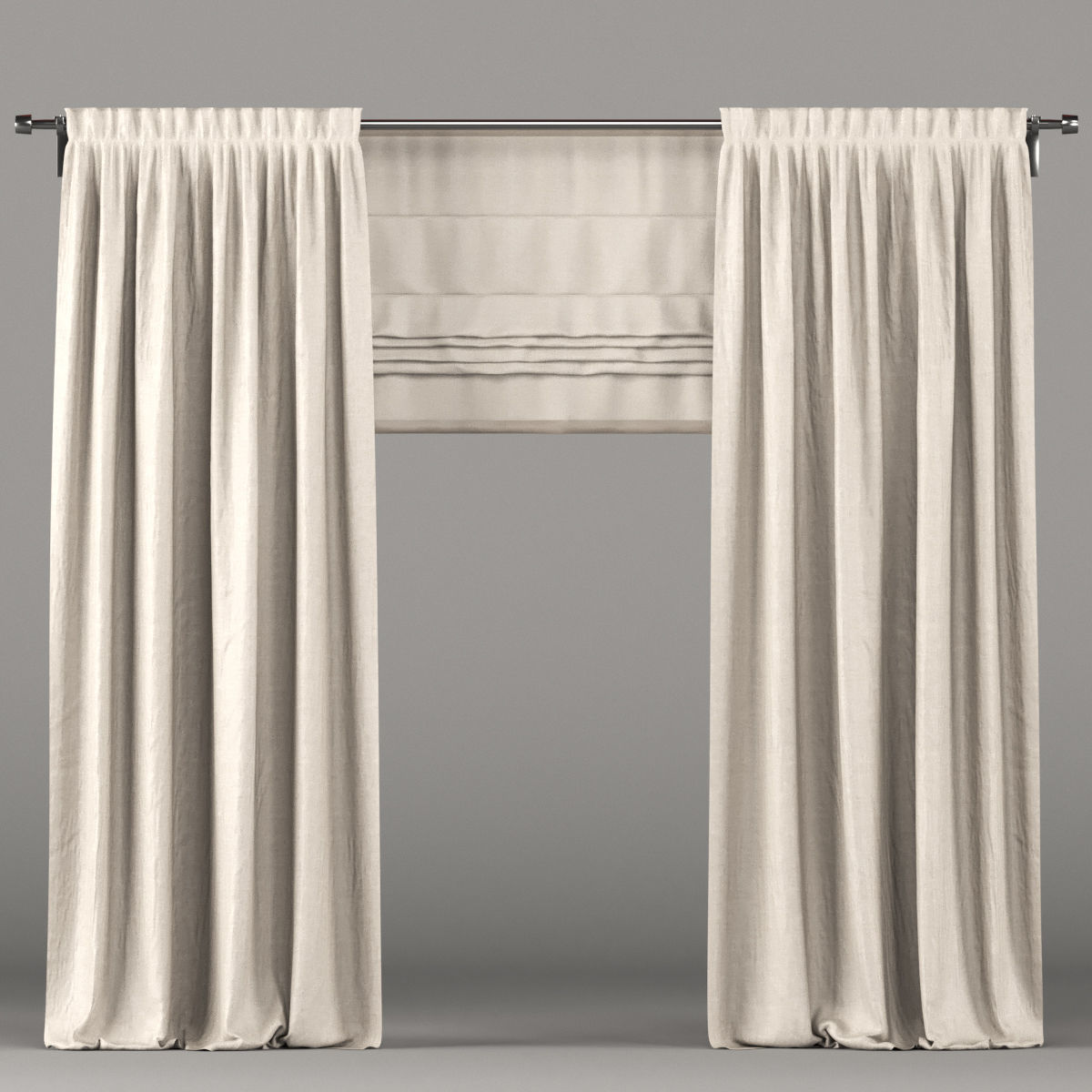 Beige curtains and roman blinds