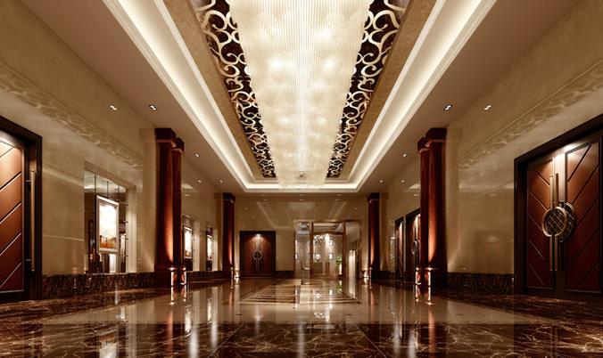 Modern hotel hall lobby 3D model
