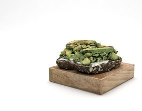 3D Avocado smashed on toast