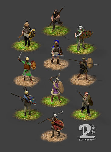 Lowpoly Iron Age warriors