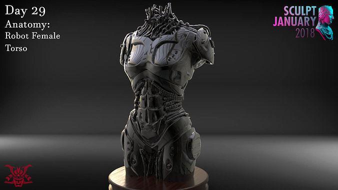 female robot torso timelapse and model 3d model obj mtl ztl 1