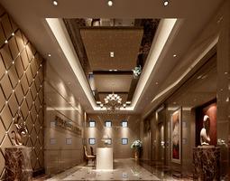 Hotel lobby hall 3D
