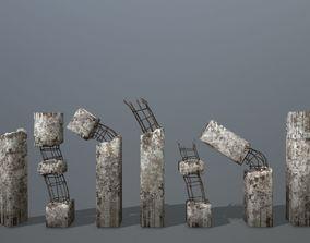 3D model old concrete pole