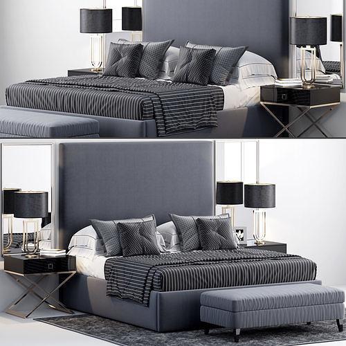 restoration hardware sullivan upholstered platform bed 3d model max obj mtl 1