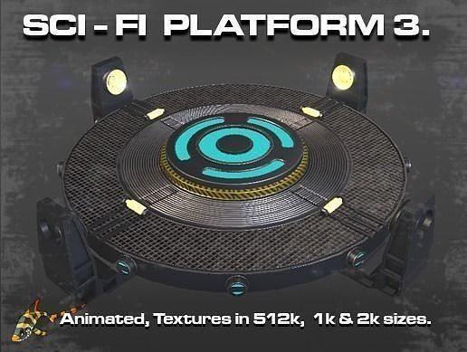 sci-fi platform 3 3d model animated obj mtl fbx dae ply spp gltf glb 1