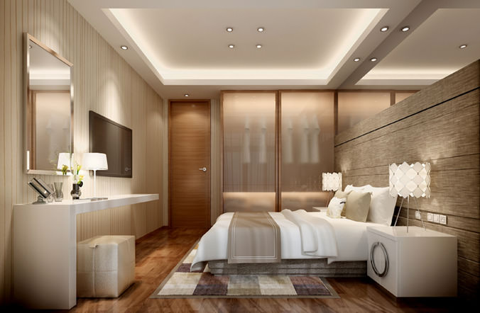 Hotel bed room interior 3d cgtrader for Design hotel 3d