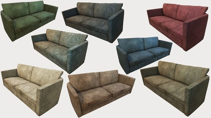 old dirty couches pbr 3d model max obj mtl 3ds fbx dae tga 1