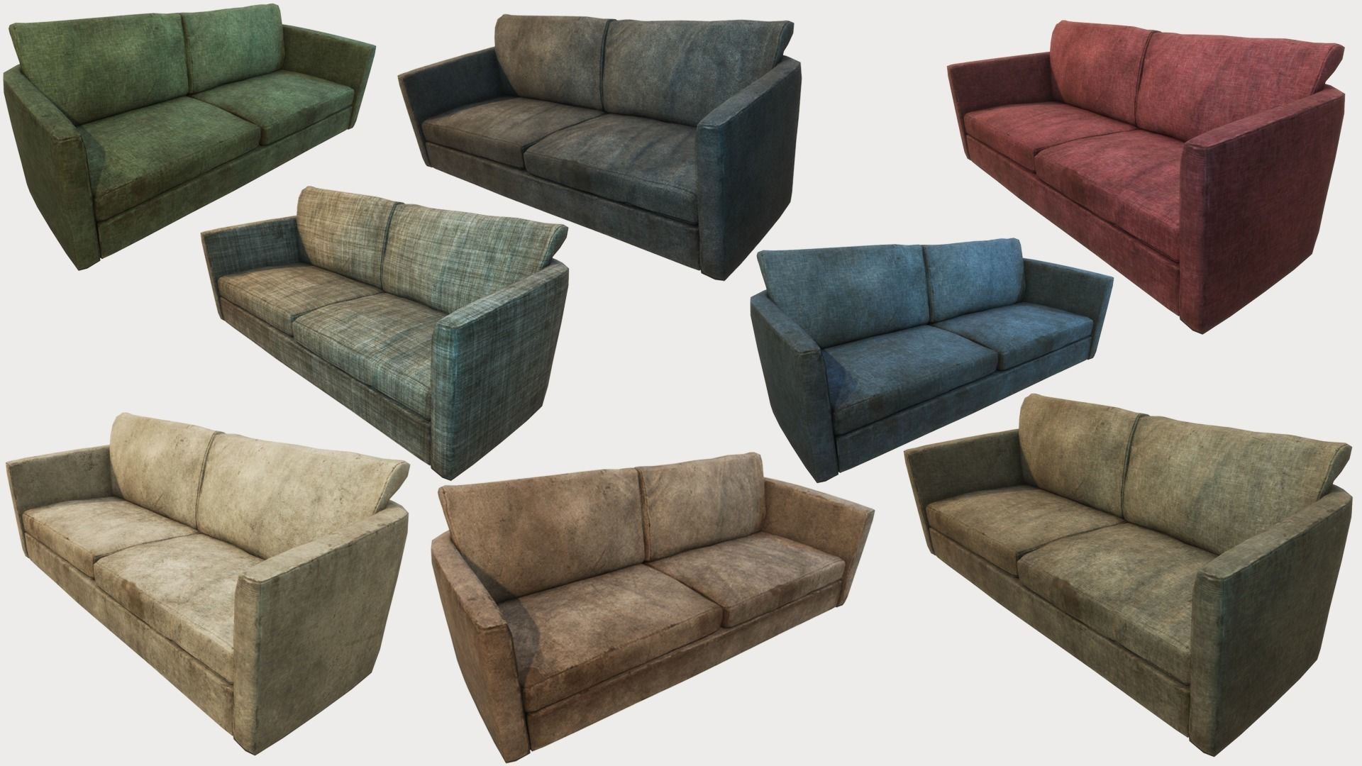 Old Dirty Couches PBR | 3D model