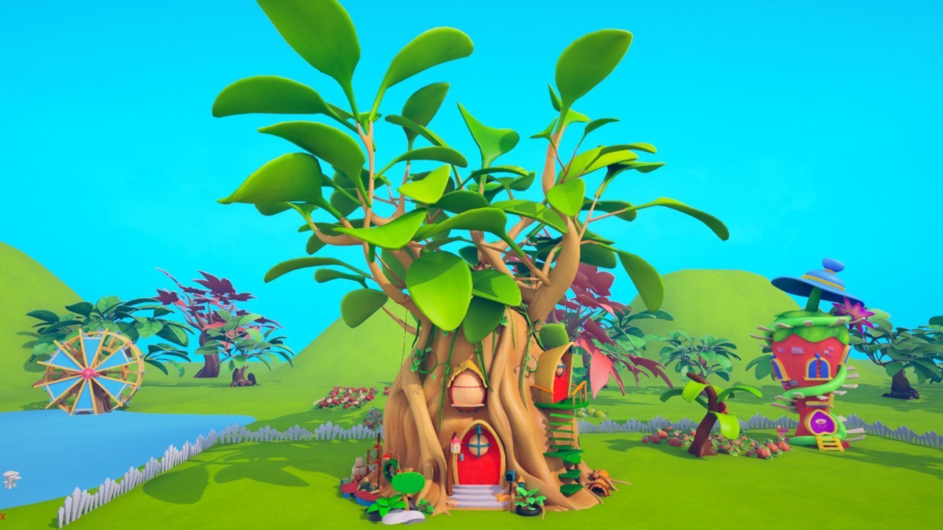 Asset - Cartoons - Background- Farm - Hight Poly