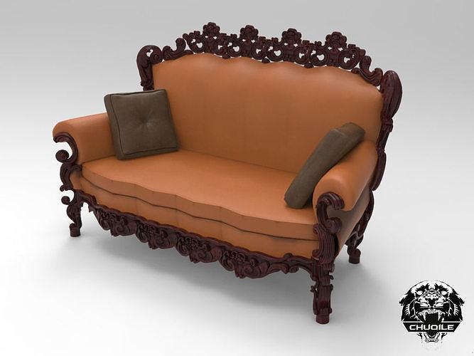Ornate Carved Sofa Et Cgtrader