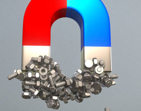 3D Low-Poly Nut and Bolt Components