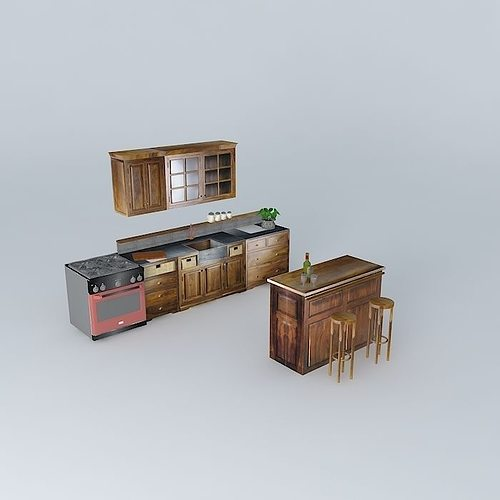 luberon the kitchen and the bar bistro world houses 3d model max obj 3ds fbx stl dae 1