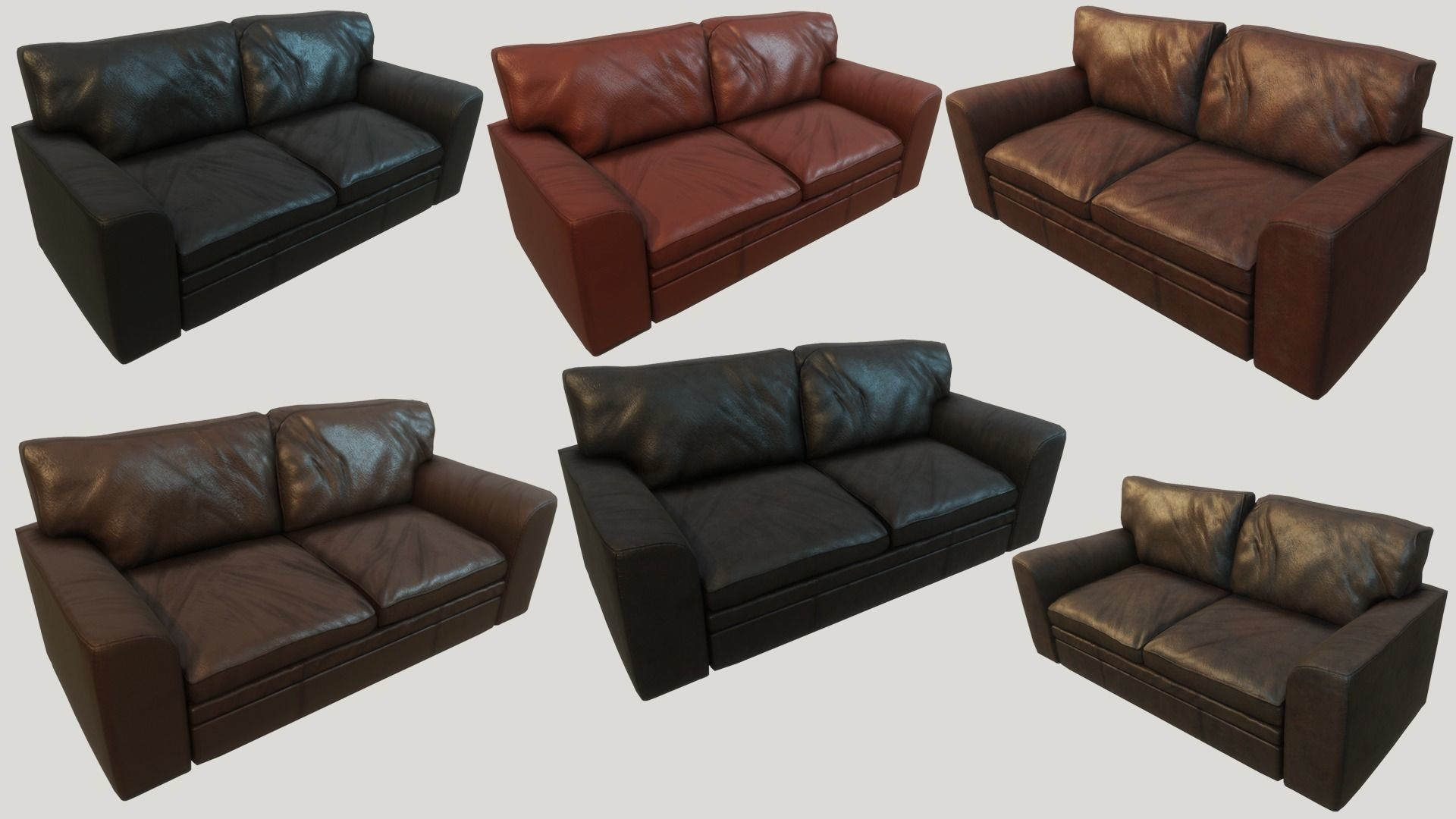 Old Leather Couches PBR   3D model