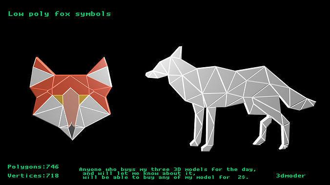 Low poly fox symbols