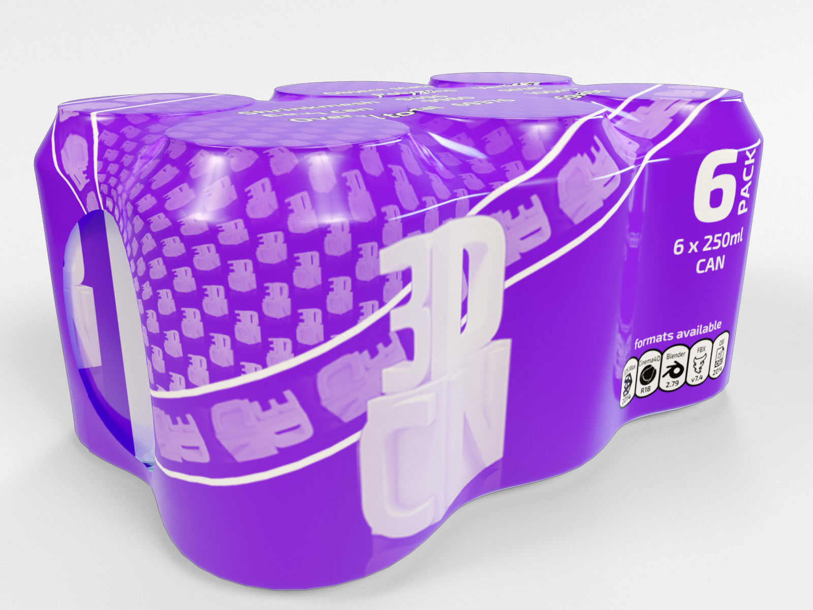 6 pack 250ml beverage cans in a plastic shrinkwrap