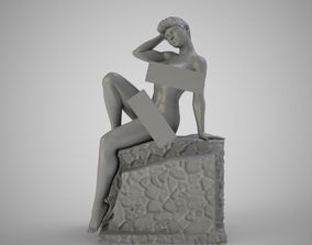 Girl Sitting on Ruined Wall 3D print model