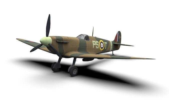 supermarine spitfire ww2 fighter plane 3d model max obj mtl fbx c4d dae 1