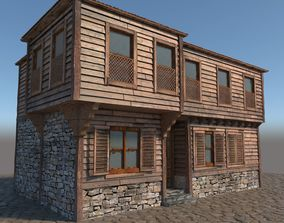 3D ottoman Old Wooden House