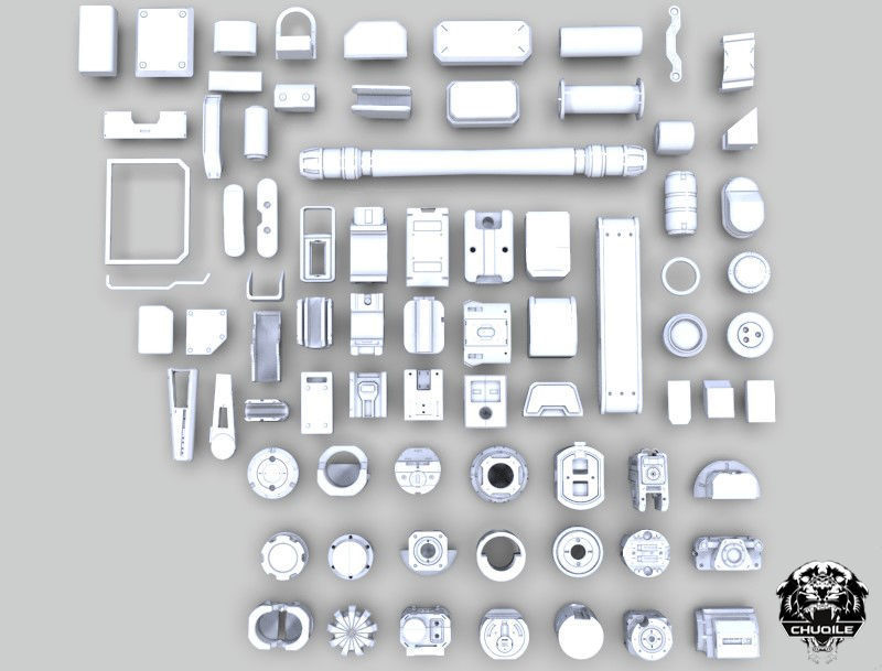 Sci-fi Hard Surface Kitbash | 3D model