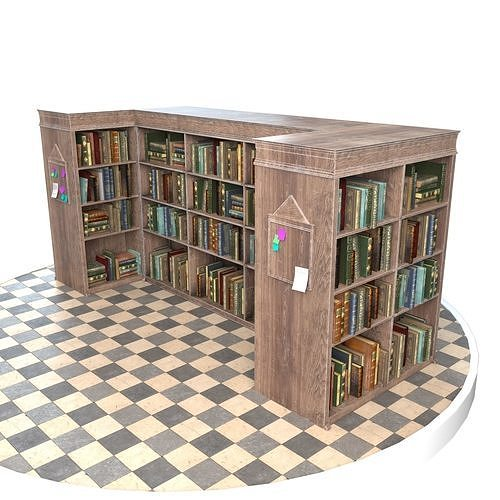 old bookshelf 3d model low-poly max obj mtl 3ds fbx tga 1