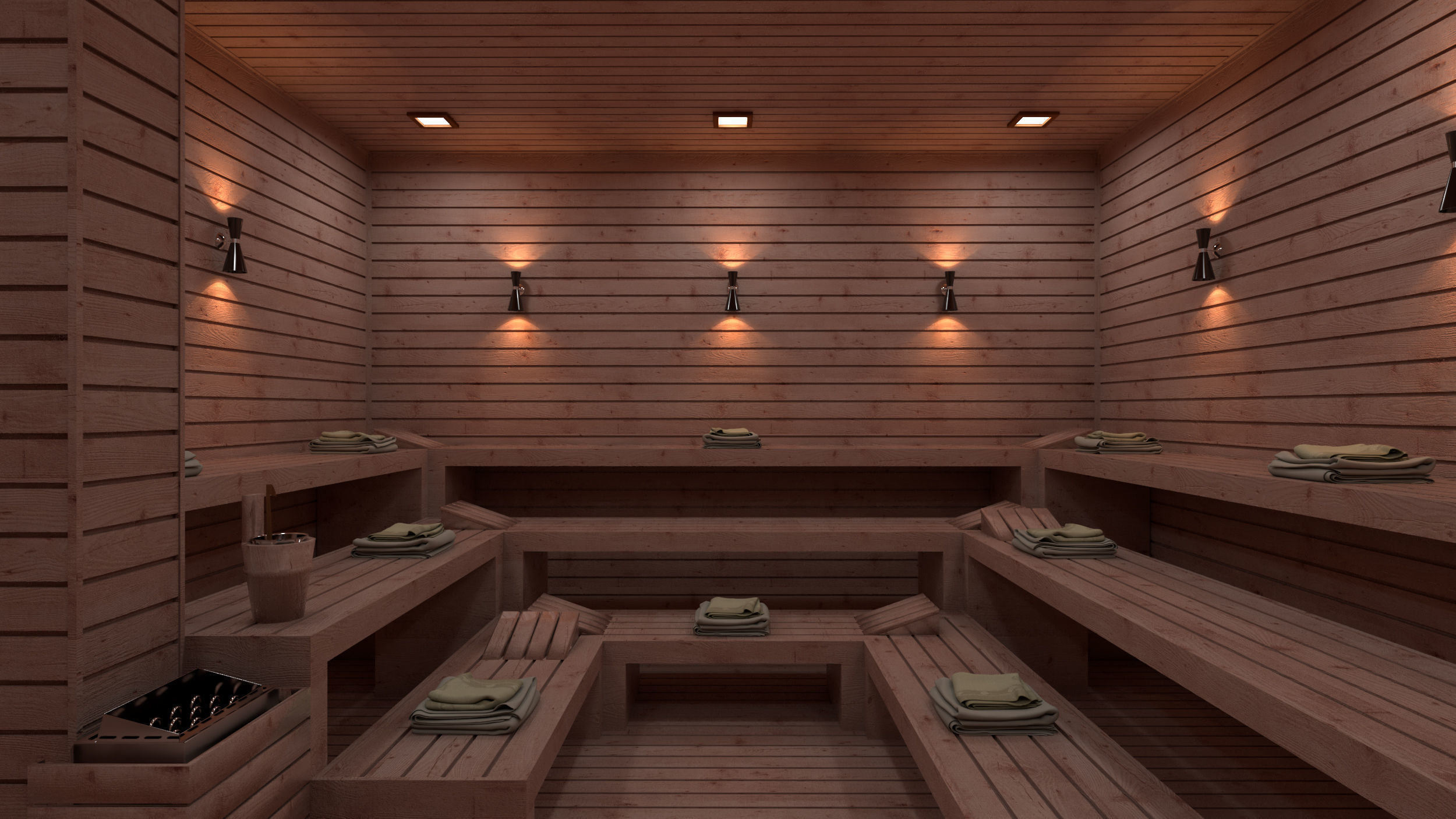 Sauna 3D Model Vray Settings