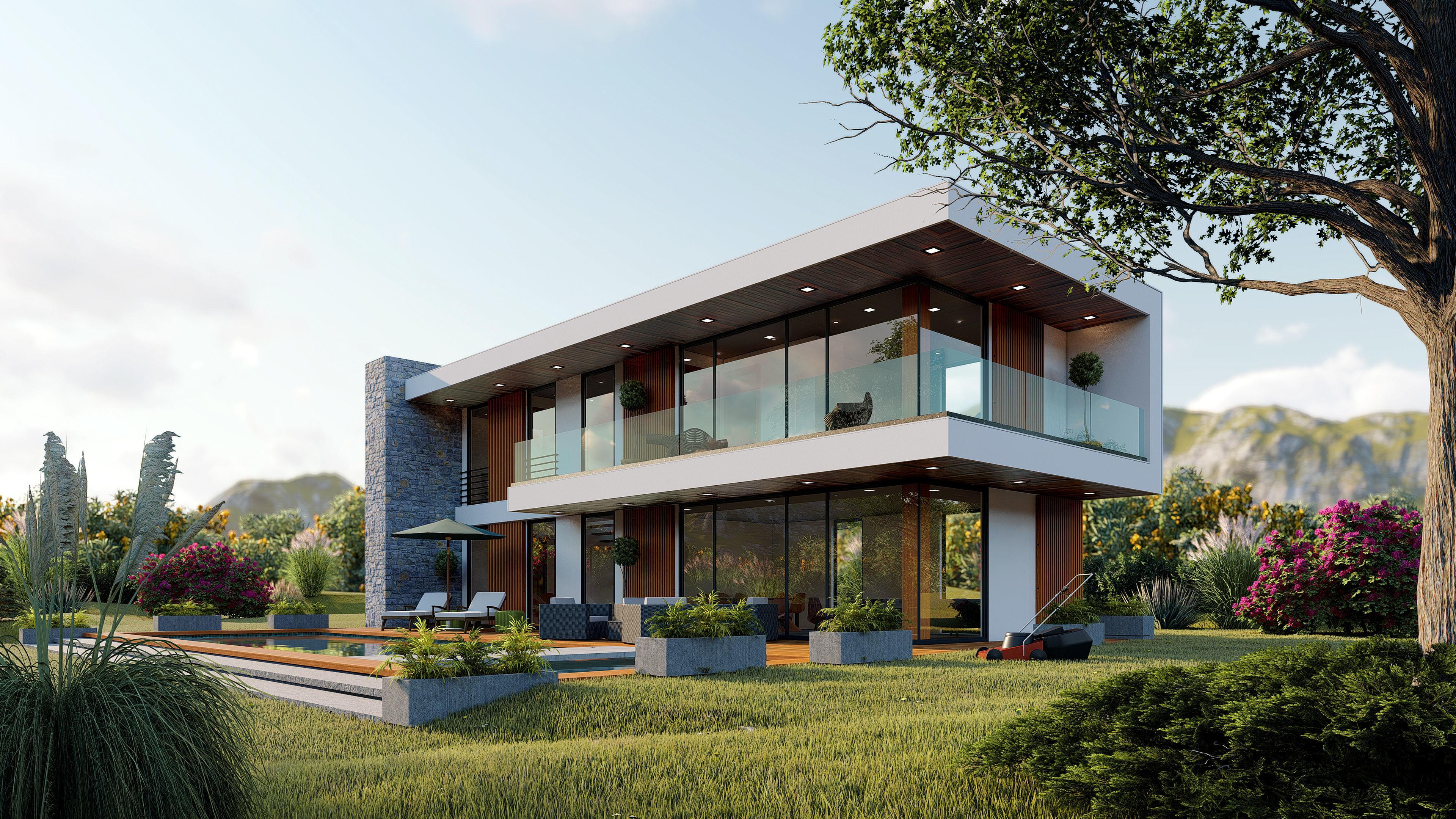 Contemporary house high quality exterior scene lumion 8 3d model skp ls8 6
