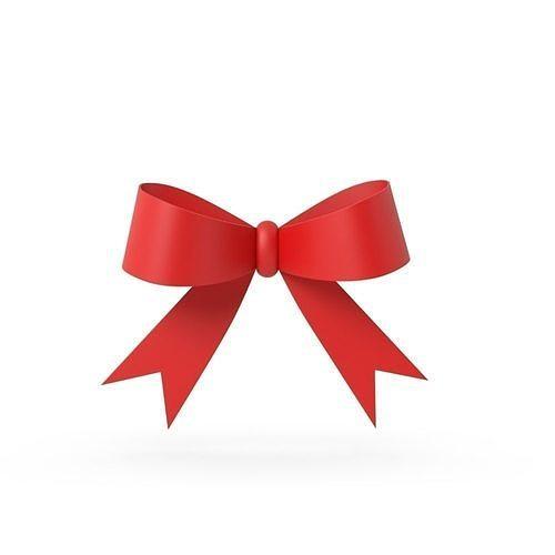 gift ribbon red simple cartoon 3d model obj mtl fbx c4d blend 1