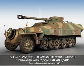 3D SDKFZ 251 Ausf D - Pakwagen - 11 Pz Div