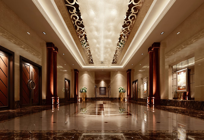 3d Model Luxury Hall Lobby Interior Cgtrader