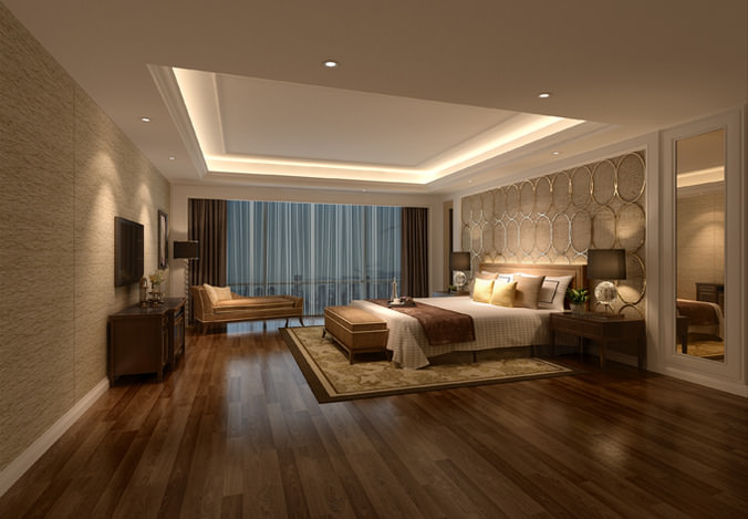 3d model hotel bed room interior cgtrader for Hotel room interior