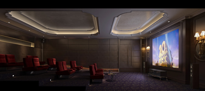 Home Theatre Lounge Space Collection 3d Model Max Cgtrader