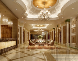 Luxury hotel hall lobby 3D