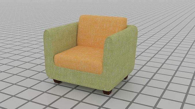 single sofa  3d model max 3ds 1