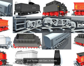 Coal Tender Train Cars 3D
