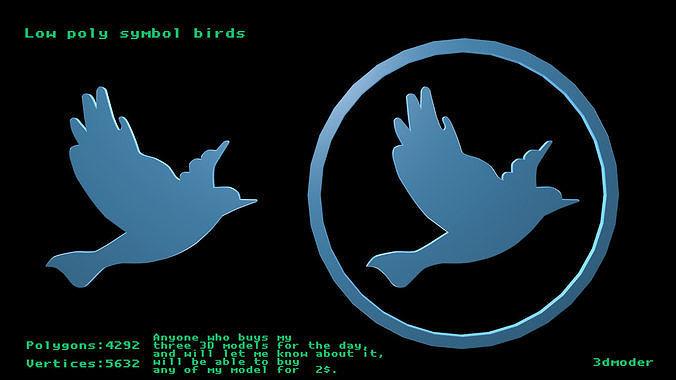 Low poly symbol birds 1