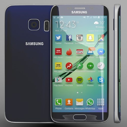 samsung galaxy s6 edge blue 3d model max 1