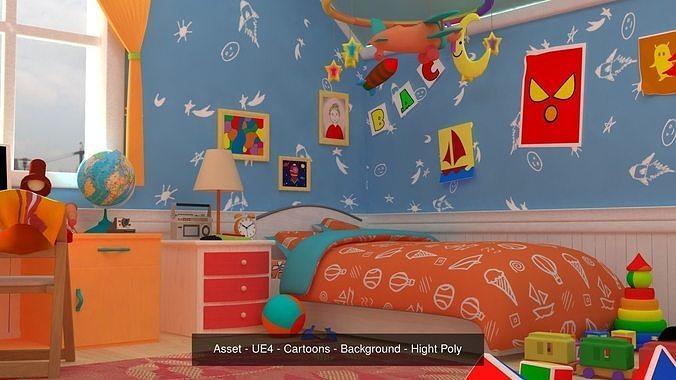 asset - cartoons - background 04 - hight poly 3d model max obj mtl fbx ma mb hrc xsi tga 1