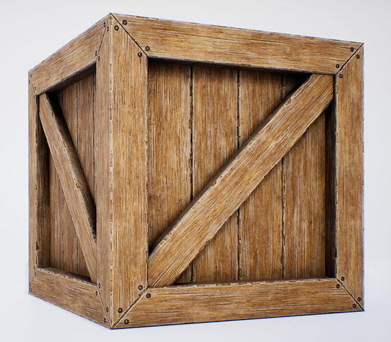 wooden box - pbr game-ready 3d model low-poly obj mtl fbx uasset 1