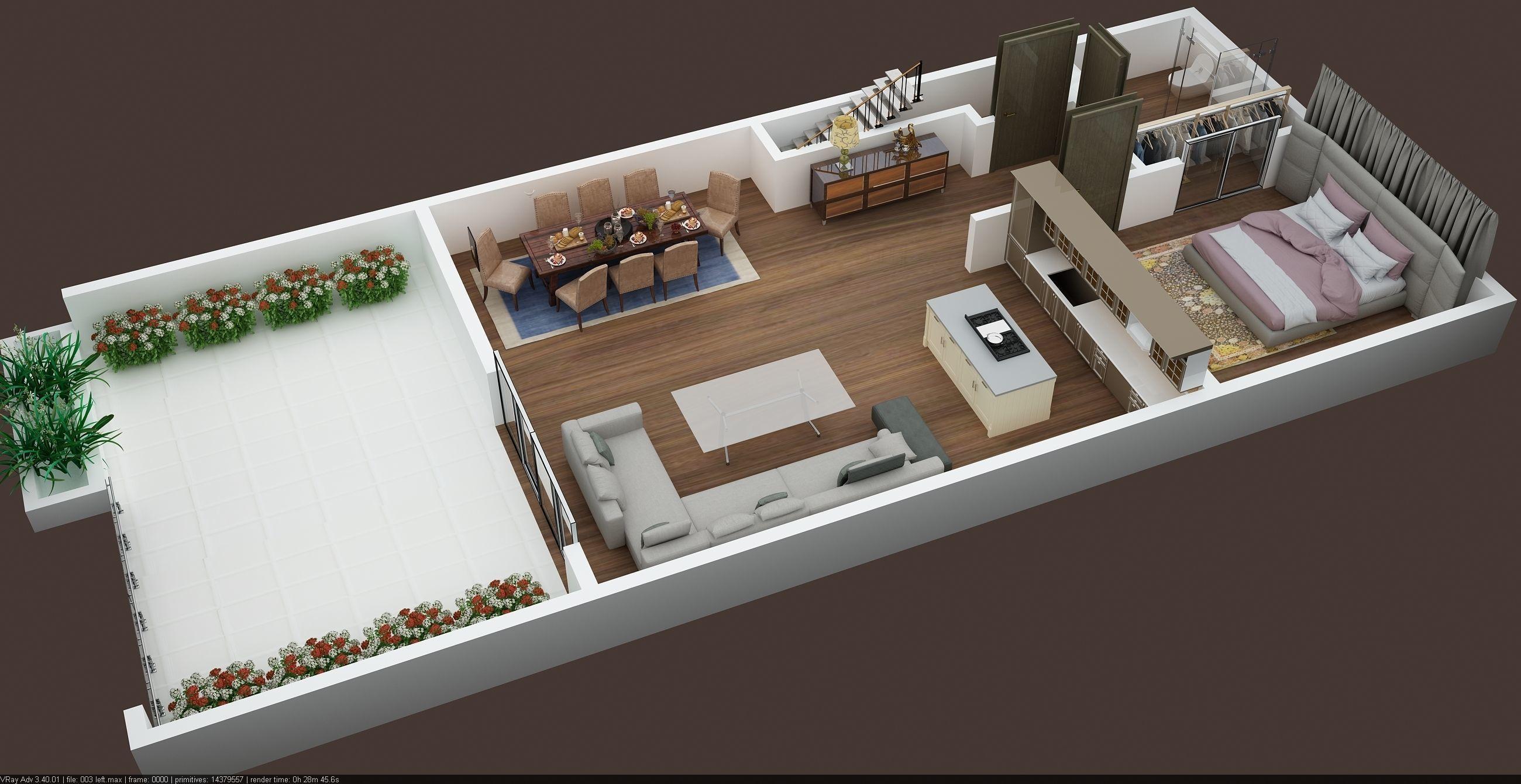 3d floor plan of 2nd floor appartment building