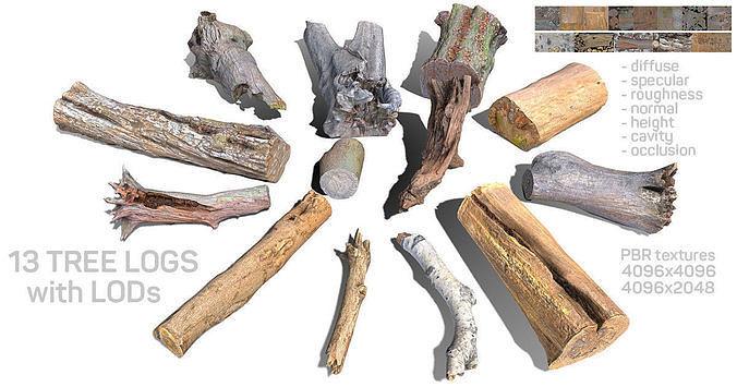 13 tree logs 3d model fbx 1