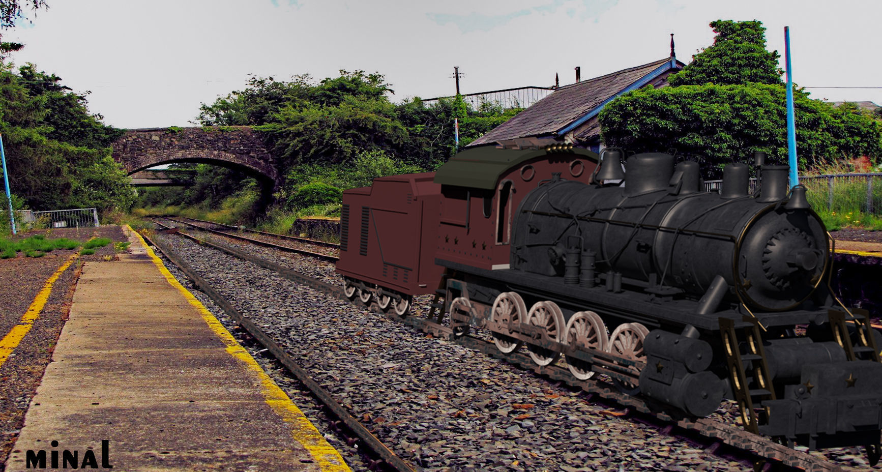 3d model of train composted in photoshop | 3D model