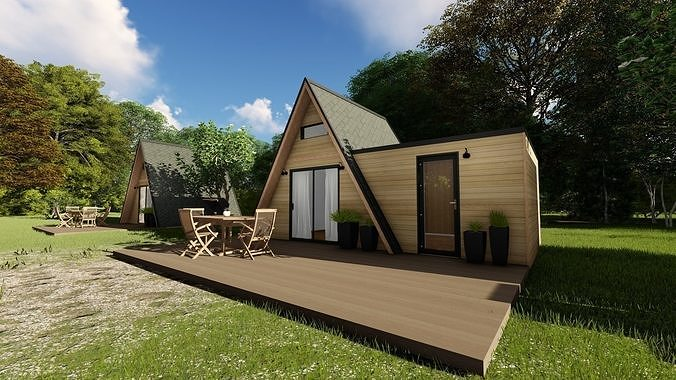 Modern mountain cabin alpine style mobile home vacation house | 3D model