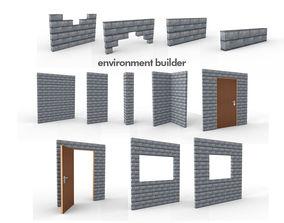 Wall Environment builder modular wall set 3D model