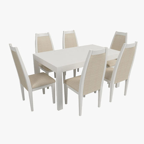 3d modern dining table with chairs cgtrader. Black Bedroom Furniture Sets. Home Design Ideas